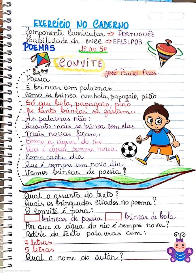 Exercício com interpretação do poema convite de José Paulo Paes de acordo com a BNCC