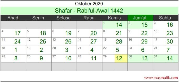 Kalender Islam Tahun 2020, Oktober