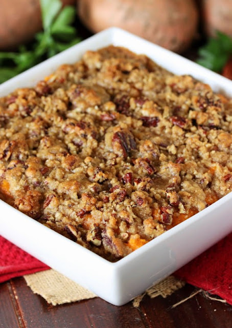 Southern Sweet Potato Casserole with Pecan-Brown Sugar Topping Image