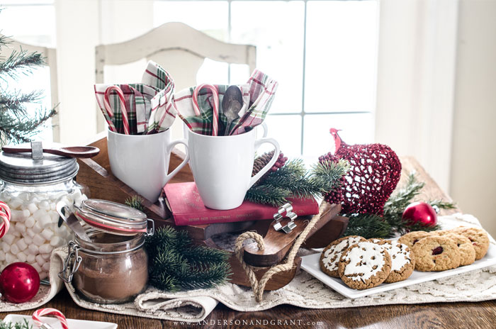 cookies and hot chocolate tablescape