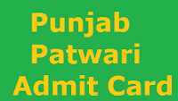 Punjab Patwari Admit Card