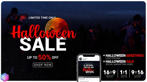 Videohive - Halloween sale greetings. Instagram and YouTube marketing. 28718250