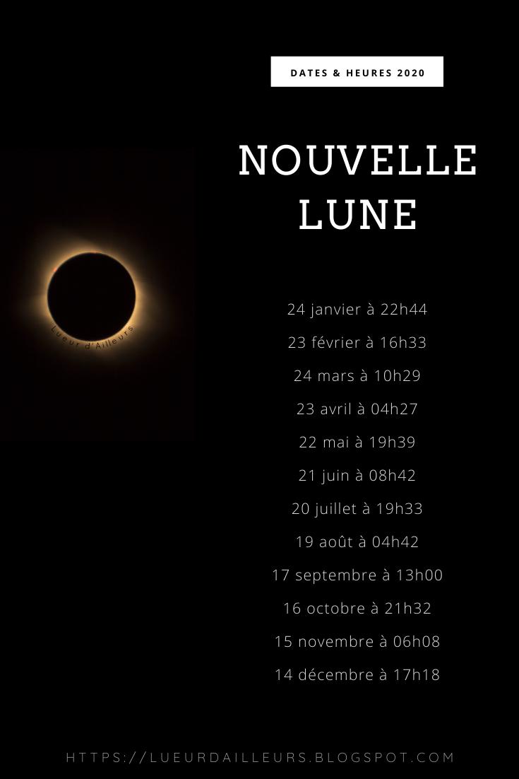 dates et heures des nouvelles lune en 2020