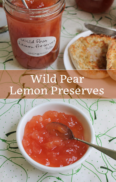 Food Lust People Love: Juicy pears cooked down with a Meyer lemon and just the right amount of sugar make the best Wild Pear Lemon Preserves! They are a wonderful topping for buttered toast, stir them into yogurt, or warm and spoon them over vanilla ice cream.