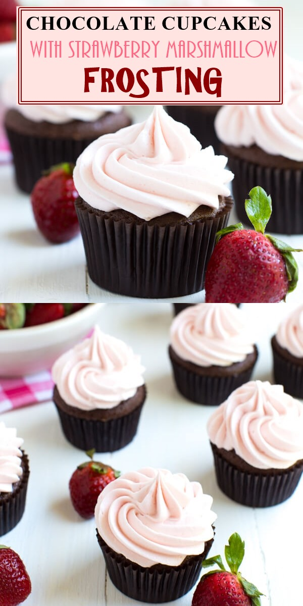 CHOCOLATE CUPCAKES WITH STRAWBERRY MARSHMALLOW FROSTING #cupcakerecipes