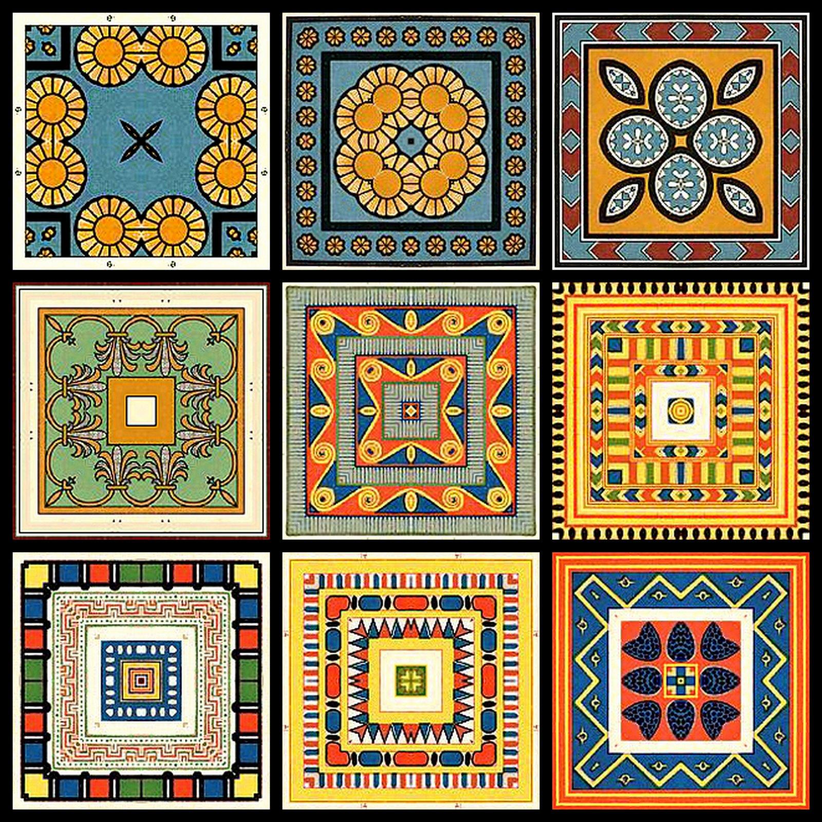 Vintage Clip Art: Sheet Of Nine Tea Bag Tiles