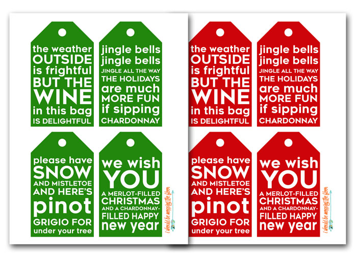 Red or Green Printable Wine Bottle Gift Tags