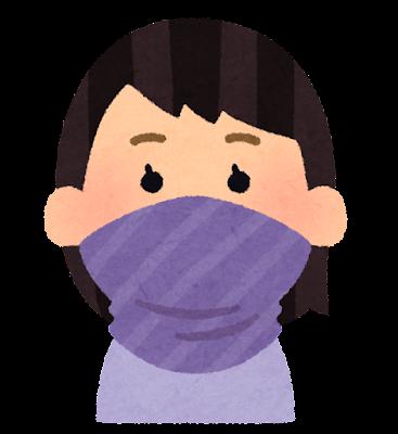 マスクの代わりに布を巻く人のイラスト(女性)