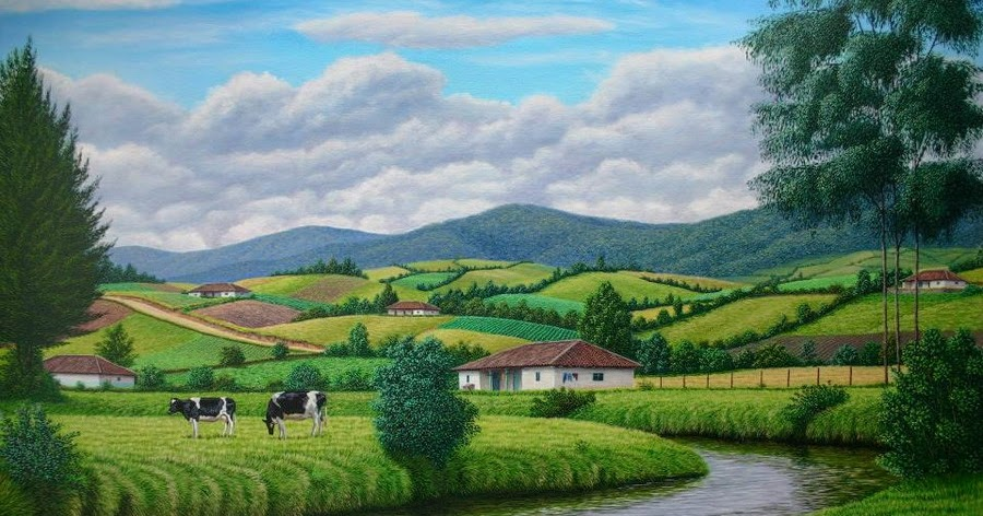 Cuadros modernos pinturas y dibujos lo mejor en cuadros - Paisajes de casas de campo ...