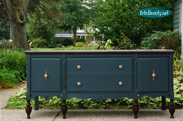 FINISHES RESCUED ANTIQUE SIDEBOARD BUFFET CUSTOM PAINTED MAKEOVER DIY
