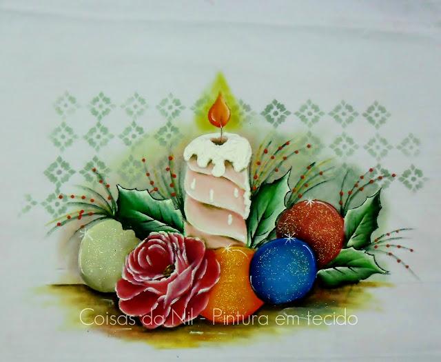 pintura de natal vela com bolas e rosa