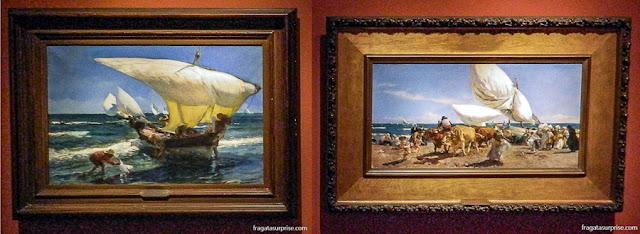 Telas do pintor valenciano Joaquín Sorolla no Museu Nacional de Belas Artes, na Recoleta