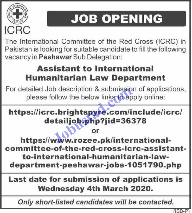 Jobs in International Committee of the Red Cross ICRC 2020