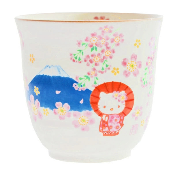 A tea cup decorated with Hello Kitty, Mount Fuji and Sakura