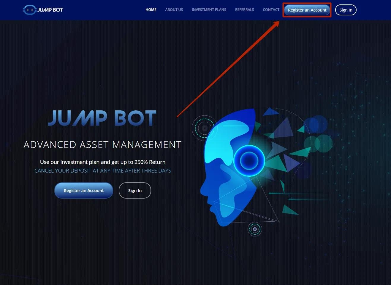 Регистрация в Jump Bot