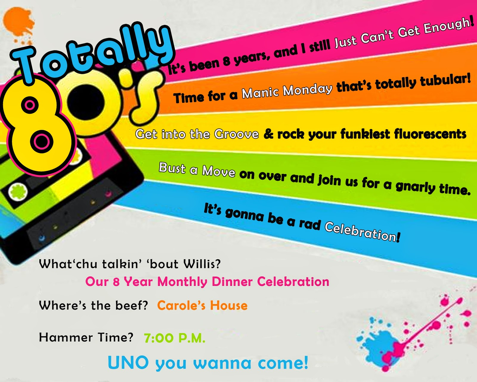 80s Party Invitation Sayings