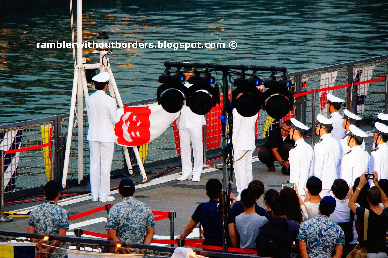 Flag folding during the Sunset Ceremony took place on RSS Endurance, Singapore