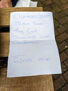 Handwritten list of places to go in the Slieve Bloom Mountains