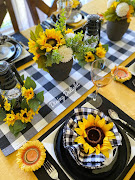 Sunflowers & Buffalo Check Tablescape