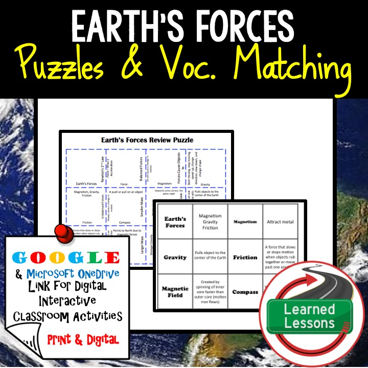 Earth Science Puzzles, Earth Science Digital Puzzles, Earth Science