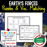 Earth's Forces, Earth Science Review Puzzles BUNDLE, Interactive Digital Notebook, Google Link, or PRINT Version, Test Prep, Unit Review, Vocabulary Activity, Earth Science Puzzles, Vocabulary, Test Prep, Unit Review