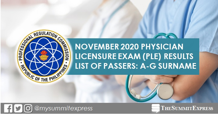 LIST OF PASSERS: A-G November 2020 Physician board exam PLE result