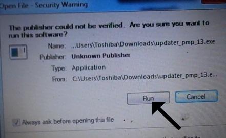 Klik Run pada Security Warning