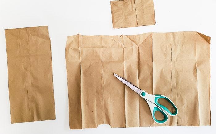 paper lunch bag cut into a sheet