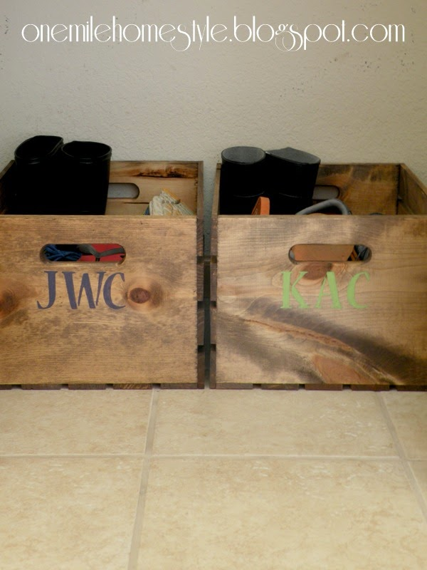 Shoe Organization in Entry Closet Using Personalized Wooden Crates