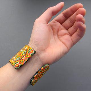 купить яркий браслет из бисера, широкий, украшения интернет-магазин этника