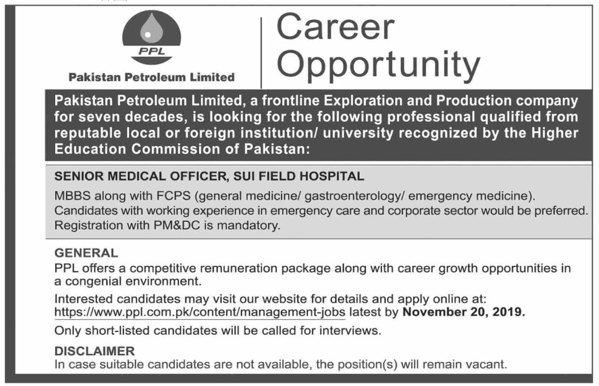 Pakistan Petroleum Limited PPL Medical Posts Sui 2019