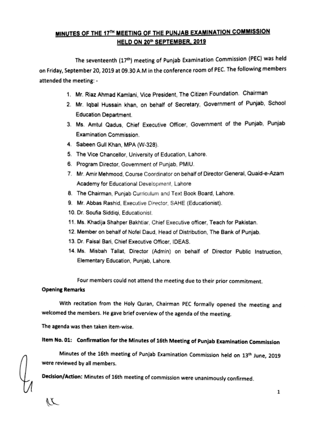 MINUTES OF THE MEETING OF PEC (PAYMENT OF SALARY OF PEC STAFF ETC.)