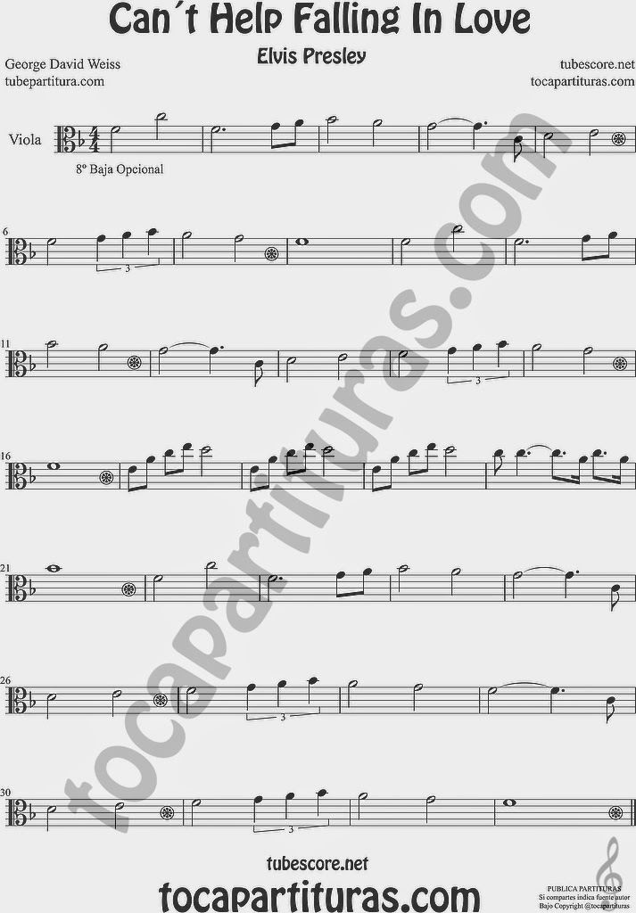 Can´t Help Falling in Love  Partitura de Viola Sheet Music for Viola Music Score