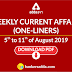 Weekly Current Affairs One-Liners | 05th to 11th of August 2019