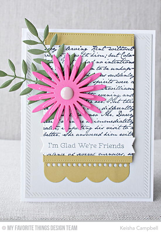 Floral Friend Card by Keisha Campbell featuring the Snuggle Bunnies stamp set, Romantic Script Background, and Gerbera Daisy, Bold Greenery, Inside & Out Diagonal Stitched Rectangle STAX, Stitched Rectangle STAX, and Blueprints 14 Die-namics #mftstamps