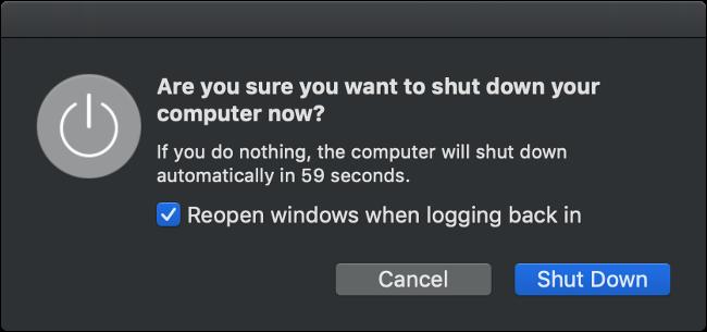 إيقاف تشغيل macOS الحوار