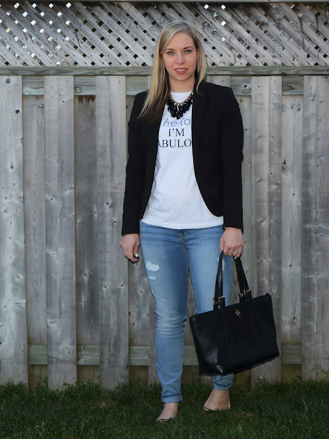 graphic tee, statement necklace and blazer
