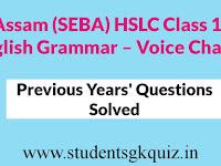 Assam (SEBA) HSLC Class 10 English Grammar – Voice Change