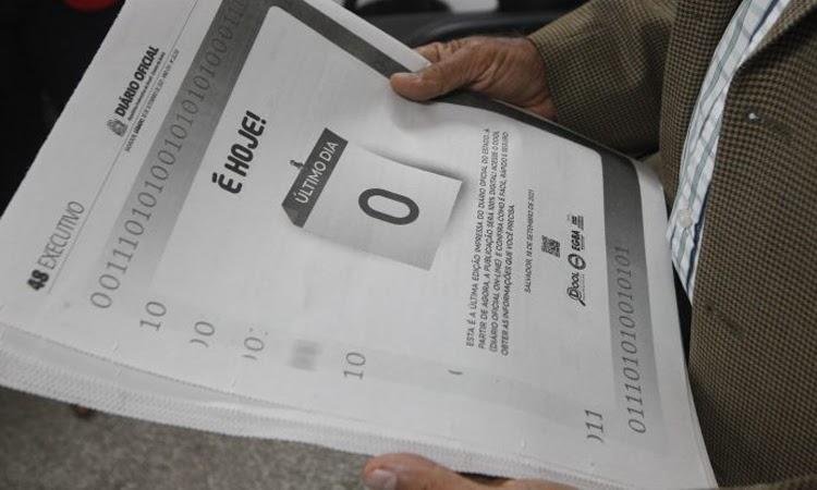 Diário Oficial da Bahia é veiculado apenas em versão digital a partir desta terça (21)