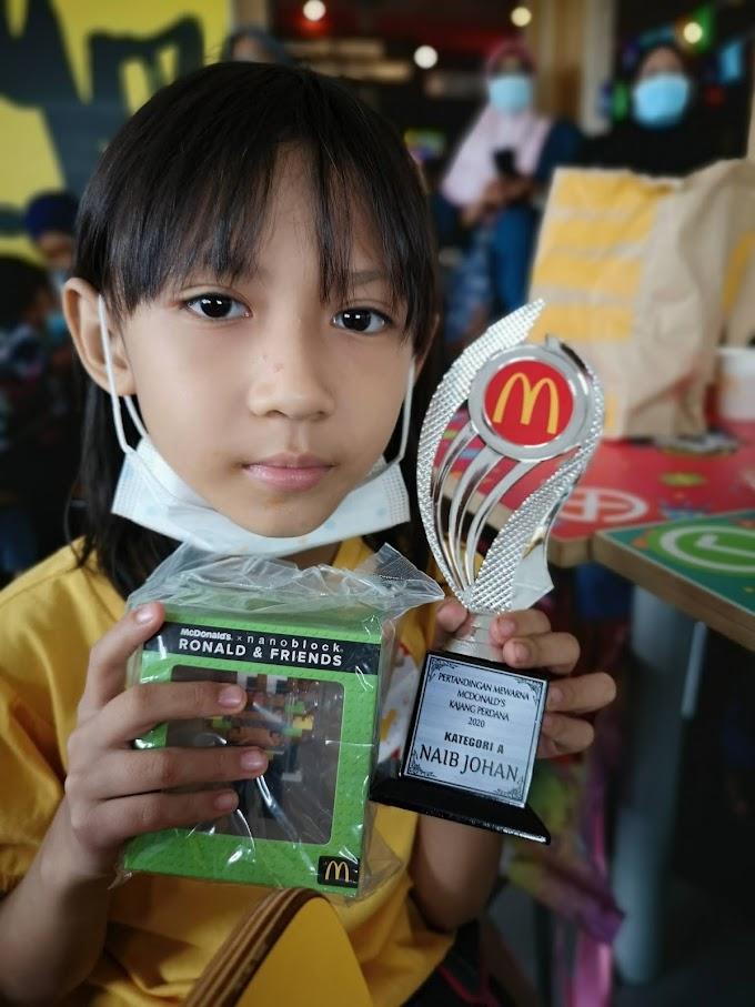 Dhia Batrisya Naib Johan 2nd Place Pertandingan Mewarna McDonald's Kajang Perdana Sempena Hari Malaysia