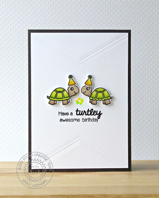 Sunny Studio Stamps: Turtley Awesome Birthday Card for Kids by Emily Leiphart.