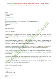 resignation letter chief financial officer