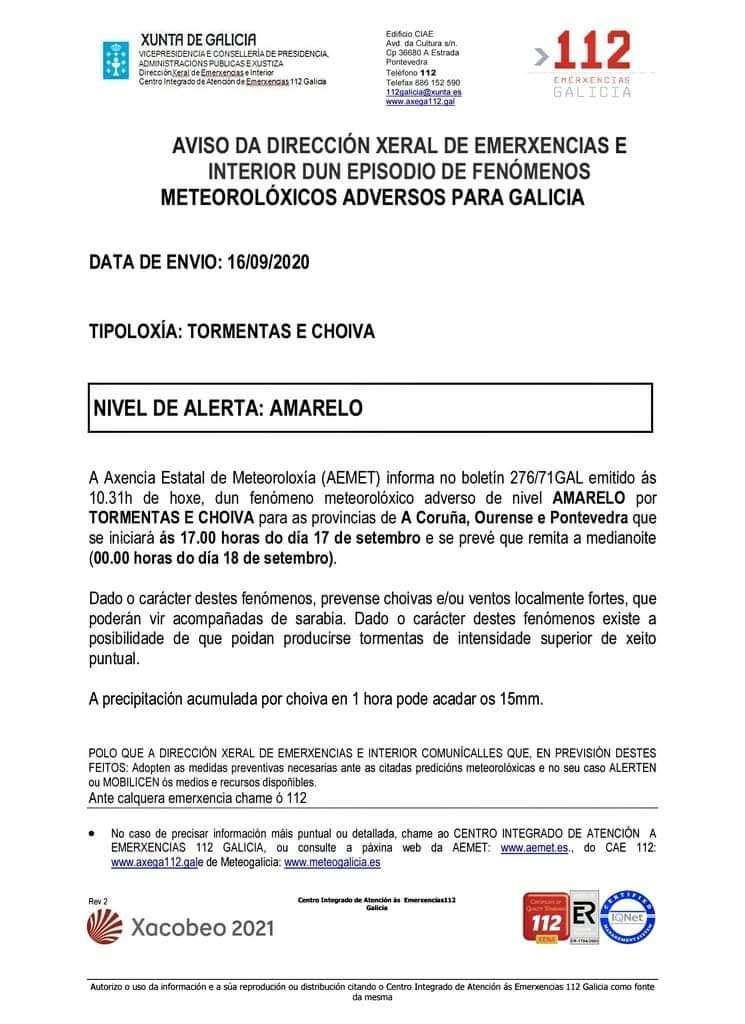 Alerta amarilla en Barro por tormentas y lluvia jueves 17/09/2020