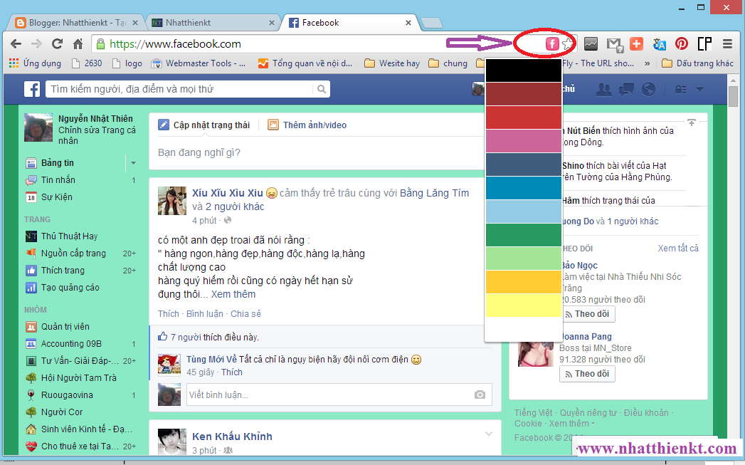 Hướng dẫn thay đổi màu sắc cho facebook