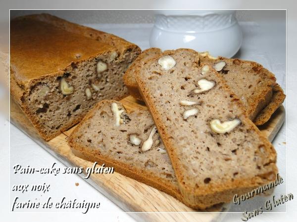 Pain cake sans gluten à la farine de châtaigne aux noix
