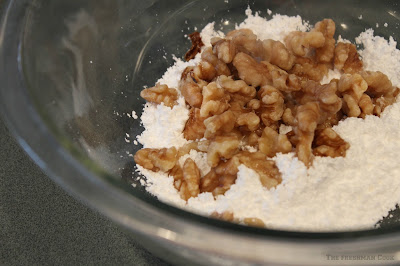 walnuts, powdered sugar