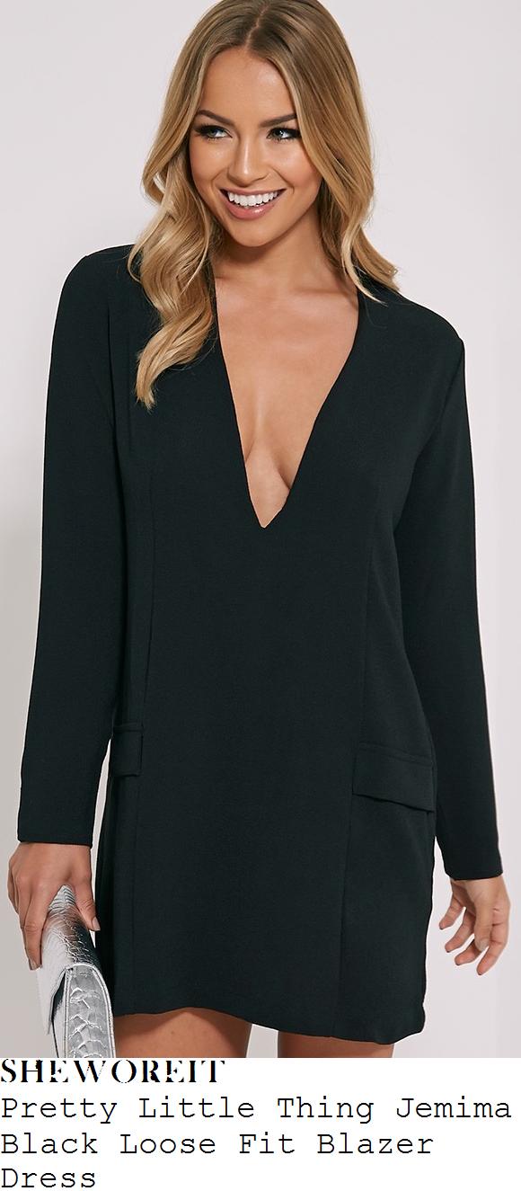 ferne-mccann-pretty-little-thing-jemima-black-plunge-front-loose-fit-blazer-dress