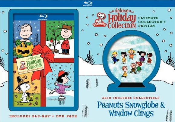 Peanuts Deluxe Holiday Collection Ultimate Collector's Edition movie set comes with a snow globe!