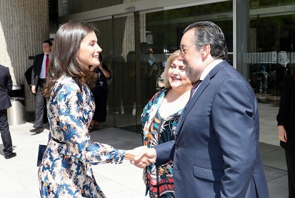 Queen Letizia wore Sandro all-over print long silk dress. Crown Princess Victoria wore Sandro all over print silk dress