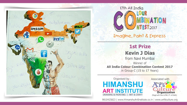 1st Prize Winner Kevin J Dias from Navi Mumbai in All India National Level Painting Competition for Kids